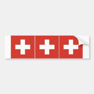 THREE Switzerland Flag Bumper Sticker