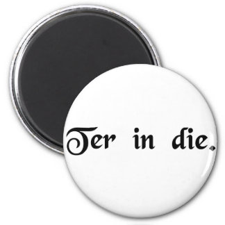 Three times a day. refrigerator magnet