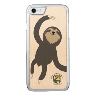 Three Toed Sloth Wooden Phone Case