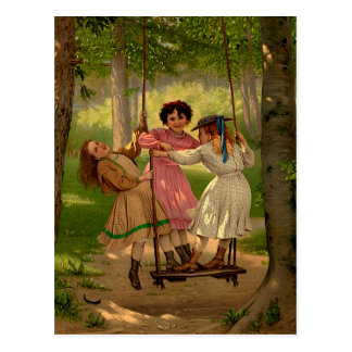 Three Tomboys Vintage Illustration Postcard