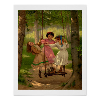 Three Tomboys Vintage Illustration Poster