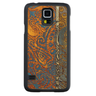Three Tone Blue Jean Swirl Cherry Hardwood Carved Maple Galaxy S5 Case