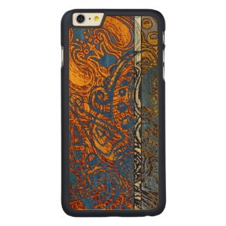 Three Tone Blue Jean Swirl Cherry Hardwood Carved Maple iPhone 6 Plus Case