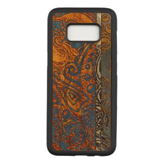 Three Tone Blue Jean Swirl Cherry Hardwood Carved Samsung Galaxy S8 Case