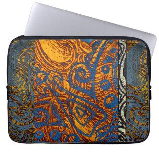 Three Tone Blue Jean Swirl Laptop Sleeve