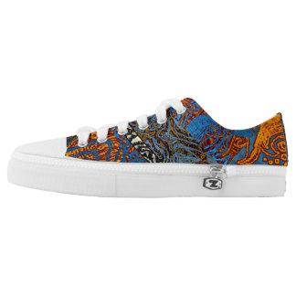 Three Tone Blue Jean Swirl Low-Top Sneakers