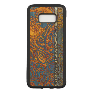 Three Tone Blue Jean Swirl Maple Hardwood Carved Samsung Galaxy S8+ Case