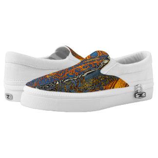 Three Tone Blue Jean Swirl Slip-On Sneakers