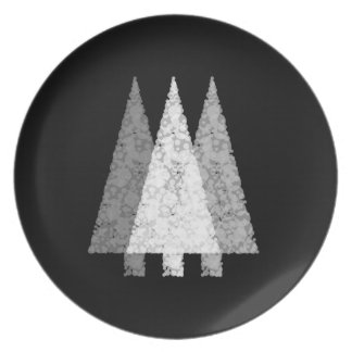 Three Trees in Black and White. Dinner Plate