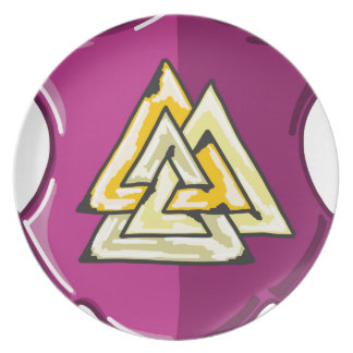 Three Triangles Shield Sketch Party Plate