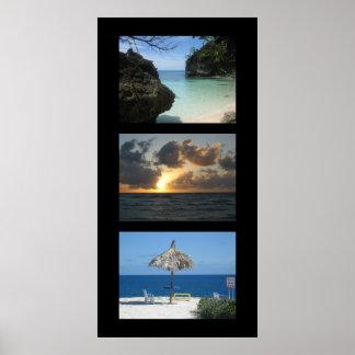Three tropical beaches poster