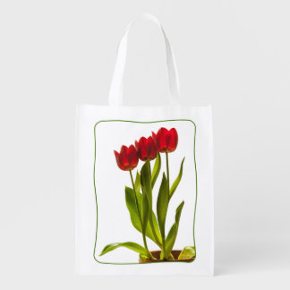Three Tulips in a Row - Portrait Reusable Grocery Bag