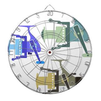 Three types of spinning reels vector illustration dartboard
