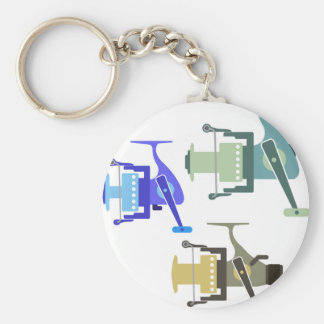 Three types of spinning reels vector illustration keychain