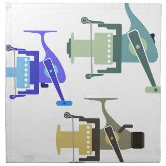 Three types of spinning reels vector illustration napkin