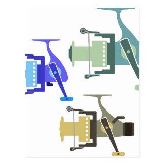 Three types of spinning reels vector illustration postcard