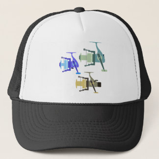 Three types of spinning reels vector illustration trucker hat