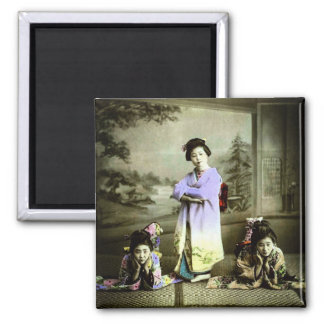 Three Vintage Geisha in Old Japan Hand Colored Magnet