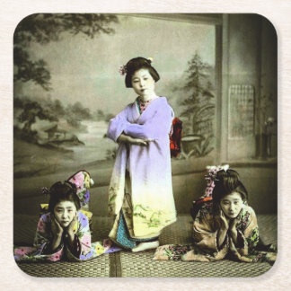 Three Vintage Geisha in Old Japan Hand Colored Square Paper Coaster
