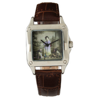 Three Vintage Geisha in Old Japan Hand Colored Wristwatches