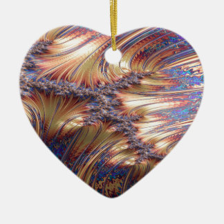 Three-way reflective sunset fractal design ceramic ornament