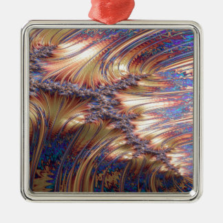 Three-way reflective sunset fractal design metal ornament