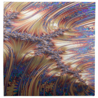 Three-way reflective sunset fractal design napkin