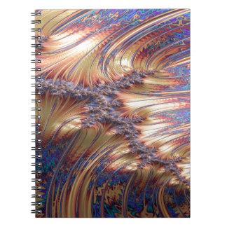 Three-way reflective sunset fractal design notebook