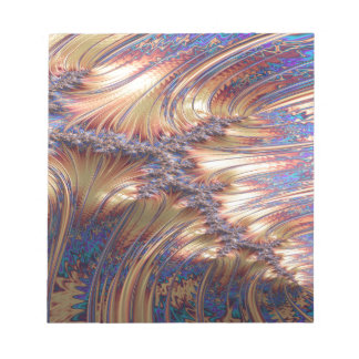 Three-way reflective sunset fractal design notepad