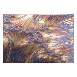 Three-way reflective sunset fractal design placemat