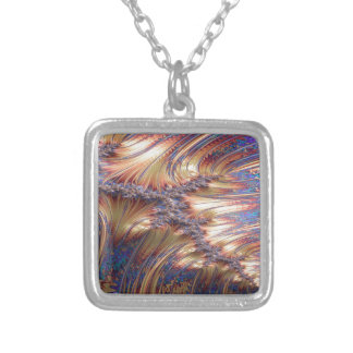 Three-way reflective sunset fractal design silver plated necklace
