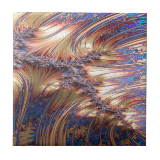 Three-way reflective sunset fractal design tile