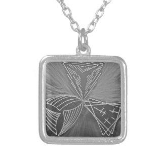 Three ways square pendant necklace