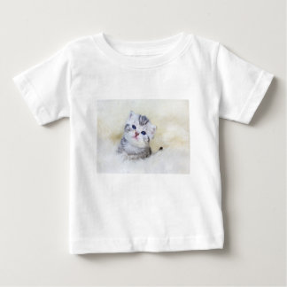Three weeks old young cat sitting on sheep fur baby T-Shirt