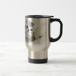 Three weeks old young cat sitting on sheep fur travel mug
