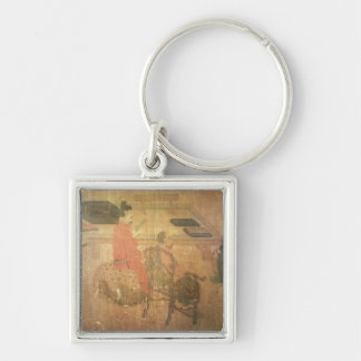 Three Well-Read Men from Lieou-Li T'ang Silver-Colored Square Keychain