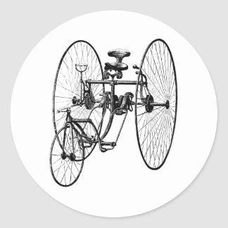 Three Wheel Bicycle Tricycle Round Sticker
