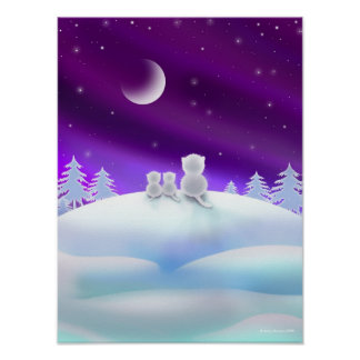 Three White Cats atop a Snow Hill Poster