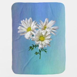 Three White Daisies Baby Blanket