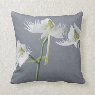 Three White Egret Orchids Throw Pillow