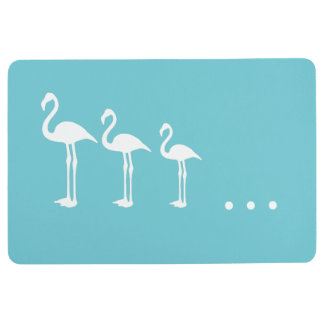 Three White Flamingo Birds and Dots Floor Mat