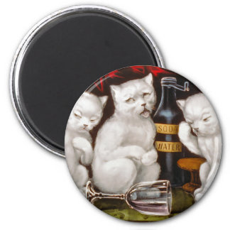 Three white kittens with hangovers 2 inch round magnet