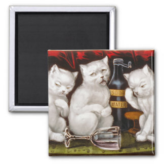 Three white kittens with hangovers square magnet