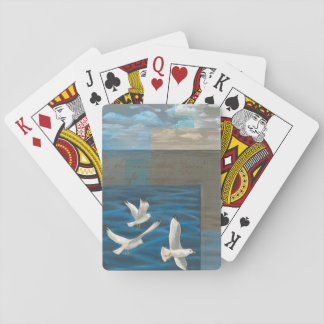 Three White Seagulls Flying Over the Water Playing Cards