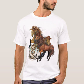 Three Wild Stallions and Mandala Shirt