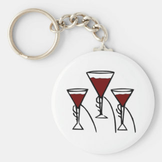 Three Wine Glasses in Hands Cartoon Keychain