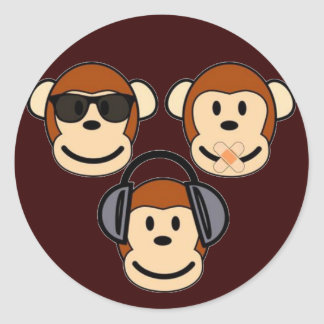 Three Wise and Funky Monkeys Classic Round Sticker