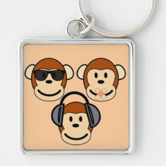 Three Wise and Funky Monkeys Keychain