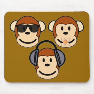 Three Wise and Funky Monkeys Mouse Pad