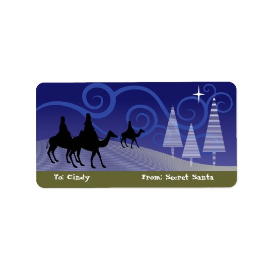 Three Wise Men guide by the  star of Bethlehem Label